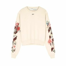 Off-White Cream Printed Cotton-jersey Sweatshirt