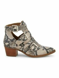 Dearly Snakeskin-Printed Leather Booties