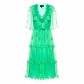 Nissa - Silk & Lace Flared Dress