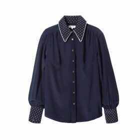 SOMERVILLE. - Exaggerated Cuff Shirt In Navy Polka