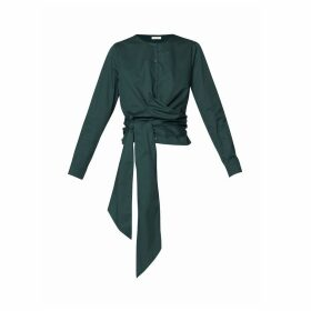 PAISIE - Button Front Blouse With Waist Tie Wrap In Green