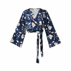 PAISIE - Floral Velvet Wrap Front Top Wide Sleeves