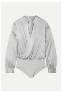 L'Agence - Marcella Wrap-effect Silk-satin And Stretch-jersey Bodysuit - Gray
