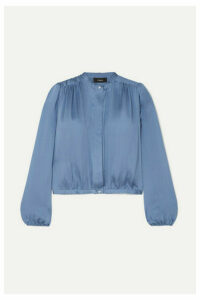 Theory - Gathered Silk-satin Blouse - Blue