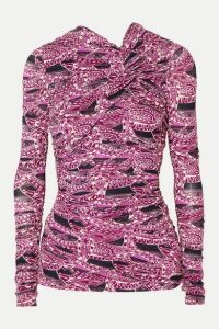 Isabel Marant - Jany Ruched Printed Stretch-jersey Top - Pink