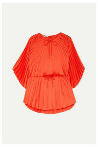 Stella McCartney - Tie-detailed Pleated Satin Top - Red