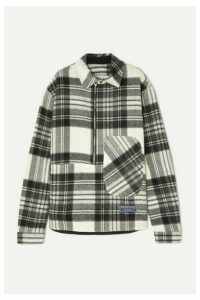 we11done - Asymmetric Checked Shetland Wool Shirt - Gray
