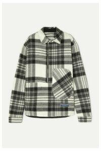 we11done - Asymmetric Checked Shetland Wool Shirt - Gray