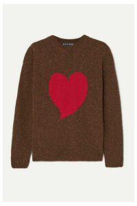 ALEXACHUNG - Heart Intarsia Wool-blend Sweater - Brown