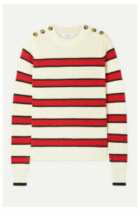 La Ligne - Striped Ribbed-knit Cotton Sweater - Cream