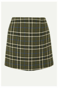 ALEXACHUNG - Plaid Twill Mini Skirt - Army green