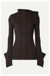 palmer//harding - Shift Embellished Striped Ribbed Cotton And Cashmere-blend Sweater - Navy