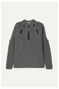 Antonio Berardi - Cutout Ribbed Wool And Cashmere-blend Sweater - Gray