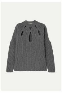 Antonio Berardi - Cutout Ribbed Wool And Cashmere-blend Sweater - Gray