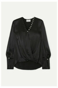 3.1 Phillip Lim - Embellished Wrap-effect Satin Blouse - Black