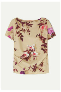 Dries Van Noten - Cerus Gathered Floral-print Cotton-poplin Top - Beige