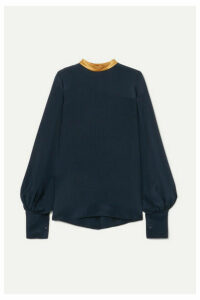 Roksanda - Satin-trimmed Silk Blouse - Navy