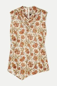 Derek Lam - Draped Floral-print Georgette Top - Brown