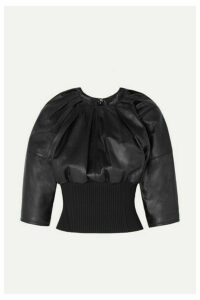 3.1 Phillip Lim - Ribbed Knit-trimmed Gathered Leather Top - Black