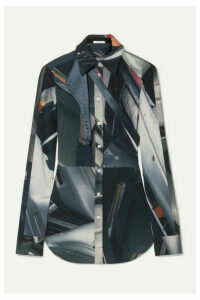 Peter Do - Satin-trimmed Printed Stretch-cady Shirt - Gray