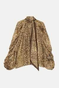 Zimmermann - Espionage Pussy-bow Leopard-print Silk Blouse - Brown