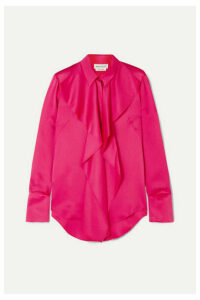 Alexander McQueen - Draped Silk-satin Blouse - Pink