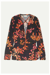 Dries Van Noten - Gathered Floral-print Crepe De Chine Blouse - Black