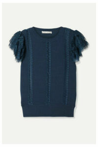 Alice + Olivia - Rosio Lace-trimmed Knitted Sweater - Storm blue