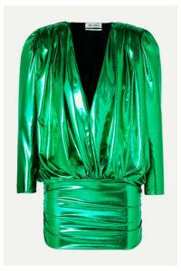 The Attico - Draped Stretch-lamé Mini Dress - Green