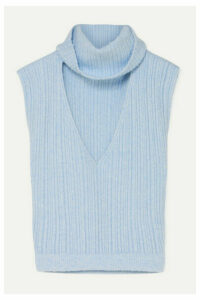 Jacquemus - Cutout Ribbed Wool-blend Top - Sky blue