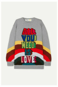 Stella McCartney - + The Beatles All You Need Is Love Oversized Intarsia Wool Sweater - Gray