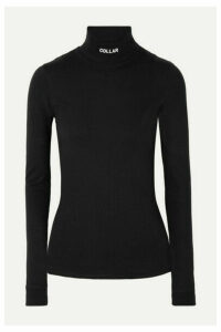 Vetements - Printed Cotton-jersey Turtleneck Top - Black