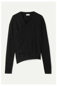Rosetta Getty - Asymmetric Wrap-effect Merino Wool Sweater - Black