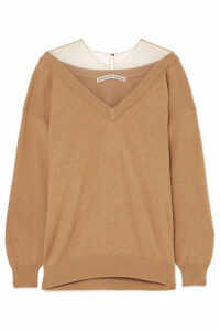 Alexander Wang - Oversized Mesh-trimmed Knitted Sweater - Camel