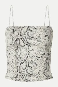 Reformation - Meyer Shirred Snake-print Crepe Top - Snake print