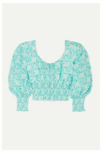 RIXO - Helena Cropped Shirred Floral-print Cotton Top - Turquoise