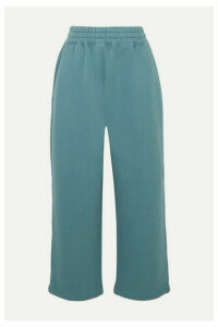 alexanderwang.t - Cropped Cotton-jersey Track Pants - Teal