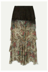Etro - Tiered Printed Fil Coupé Chiffon Maxi Skirt - Beige