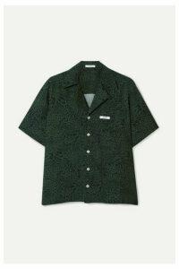 BLOUSE - Leopard-print Poplin Shirt - Army green