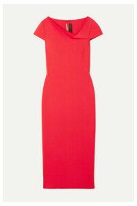 Roland Mouret - Keel Draped Woven Midi Dress - Red