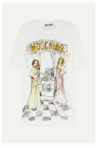 Moschino - Oversized Embellished Printed Cotton-jersey T-shirt - White