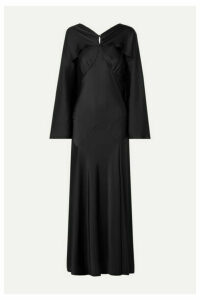 Paco Rabanne - Draped Satin Maxi Dress - Black