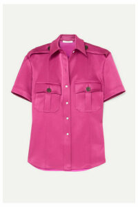 Peter Do - College Safari Belted Paneled Satin And Charmeuse Shirt - Pink
