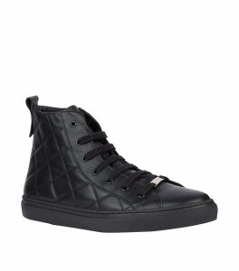Leather Quilted High-Top Sneakers