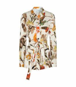 Pattern Floral Belted Shirt