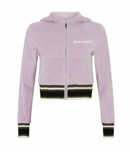 Cropped Chenille Zip-Up Hoodie
