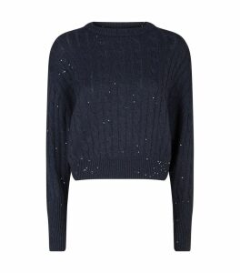 Sequin Embellished Cable-Knit Sweater