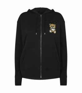 Embellished Teddy Bear Logo Zip-Up Hoodie