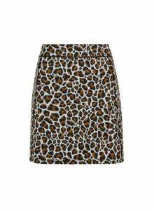 Womens Brown Animal Print Jacquard Mini Skirt, Brown
