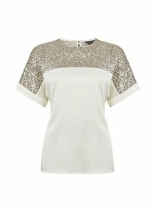 Womens Champagne Batwing Top- White, White